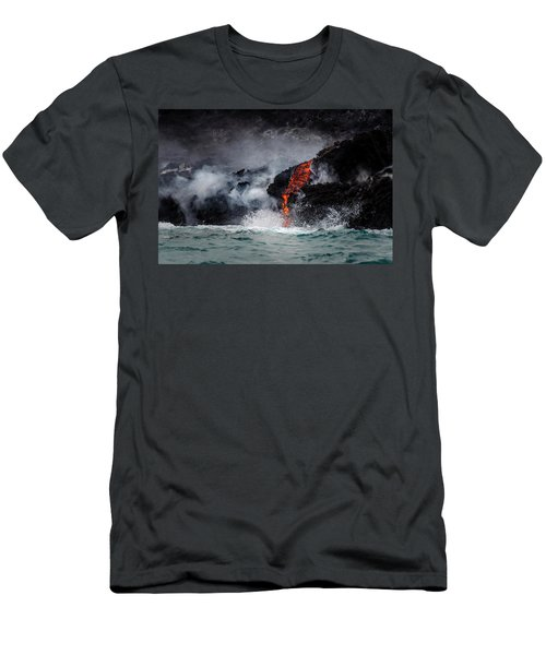 Lava Dripping Into The Ocean Men's T-Shirt (Athletic Fit)