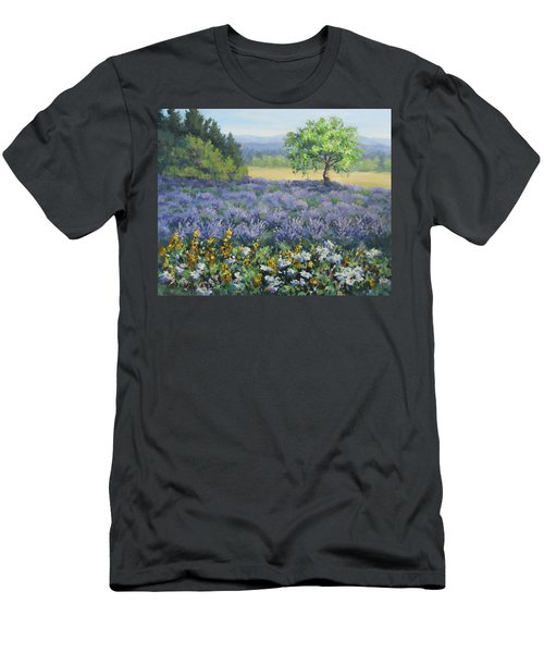 Men's T-Shirt (Slim Fit) featuring the painting Lavender And Wildflowers by Karen Ilari