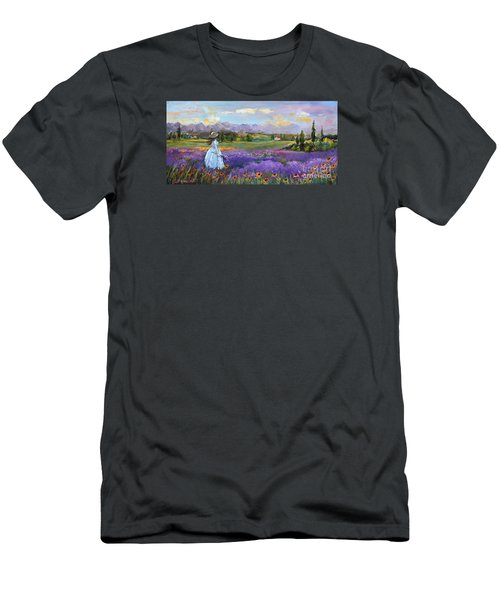 Lavender Splendor  Men's T-Shirt (Slim Fit) by Jennifer Beaudet
