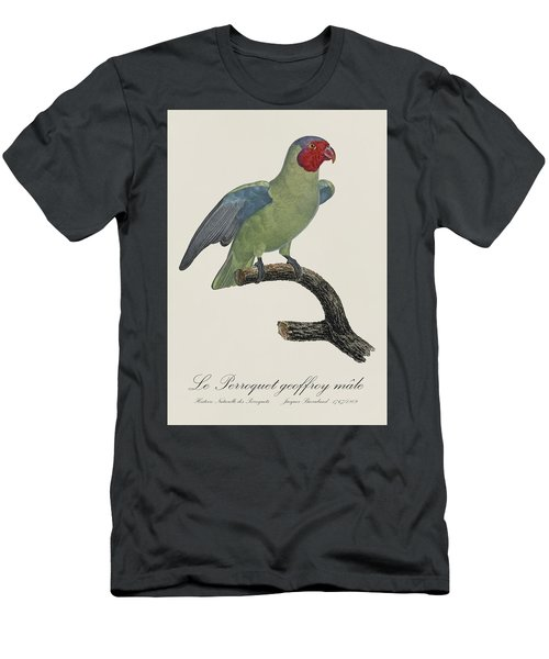 Le Perroquet Geoffroy Male / Red Cheeked Parrot - Restored 19th C. By Barraband Men's T-Shirt (Slim Fit) by Jose Elias - Sofia Pereira