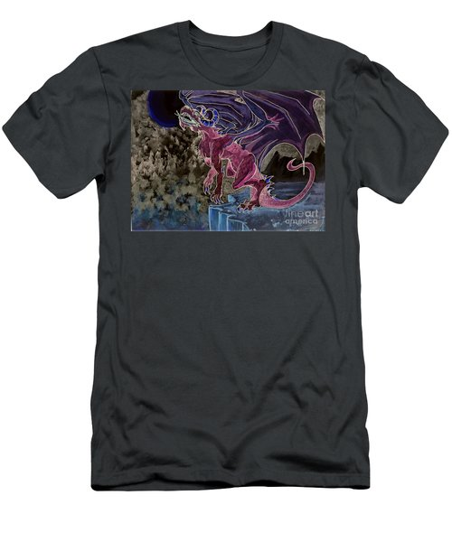 Men's T-Shirt (Athletic Fit) featuring the mixed media Leaping Dragon 2 by Reed Novotny