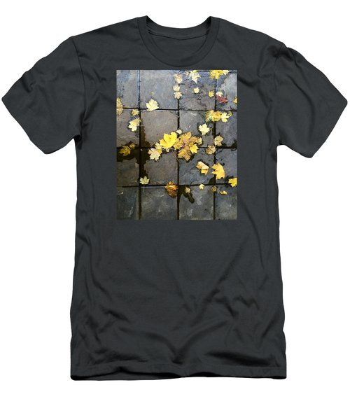 Leaves On Slate Men's T-Shirt (Slim Fit) by Suzanne Lorenz
