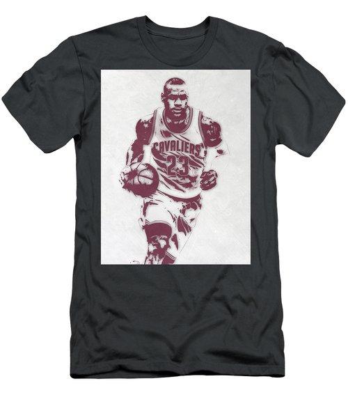 Lebron James Cleveland Cavaliers Pixel Art 4 Men's T-Shirt (Slim Fit) by Joe Hamilton