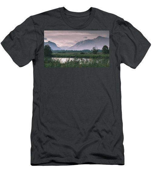 Leisure Boat On River Adda In Northern Italy, Close To Lake Como - Reflection Of Italian Alps Men's T-Shirt (Athletic Fit)