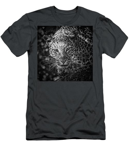 Leopard, Black And White Men's T-Shirt (Athletic Fit)