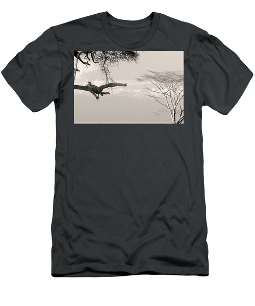 Leopard Resting On A Tree Men's T-Shirt (Athletic Fit)
