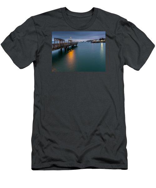 Less Davis Pier Commencement Bay Men's T-Shirt (Slim Fit) by Rob Green