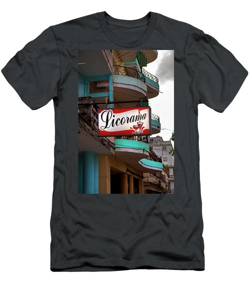 Men's T-Shirt (Slim Fit) featuring the photograph Licorama Bar Liquor Store In Havana Cuba At Calle 6 by Charles Harden