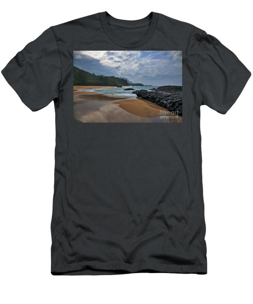 Men's T-Shirt (Athletic Fit) featuring the photograph Life Is A Beach And Then You Die? Lumahai Beach, Kauai, Hawaii by Sam Antonio Photography