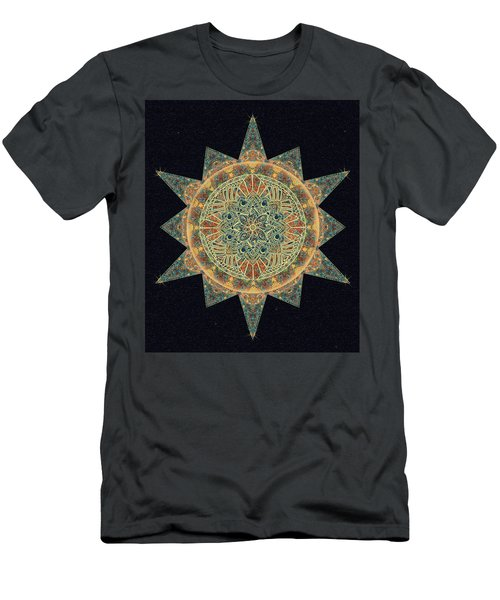 Men's T-Shirt (Slim Fit) featuring the drawing Life Star Mandala by Deborah Smith