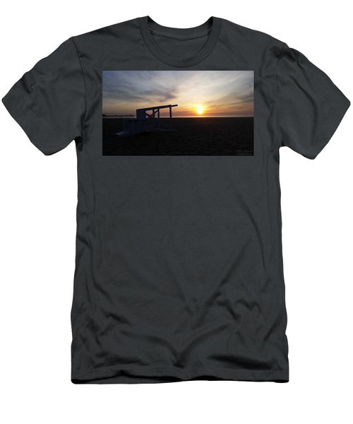 Lifeguard Stand And Sunrise Men's T-Shirt (Slim Fit) by Robert Banach