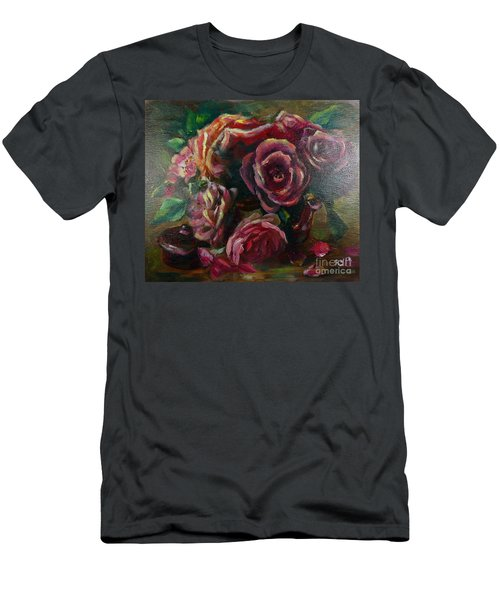 Men's T-Shirt (Athletic Fit) featuring the painting Light Striking Deep Red Roses by Ryn Shell