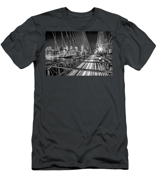 Light Trails Of Manhattan Men's T-Shirt (Slim Fit) by Az Jackson