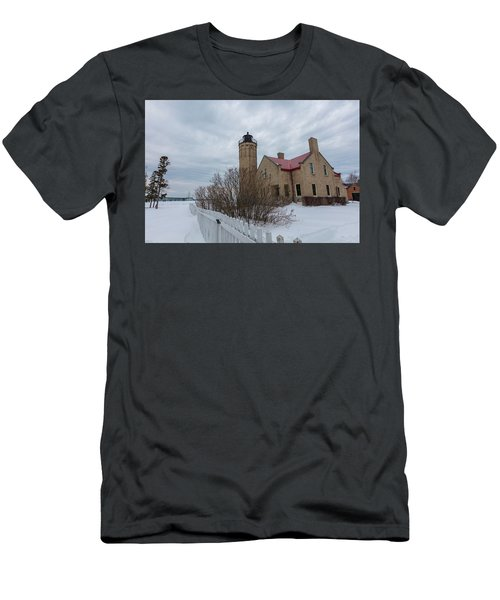 Men's T-Shirt (Slim Fit) featuring the photograph Lighthouse And Mackinac Bridge Winter by John McGraw