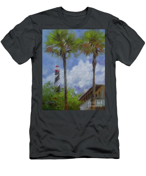 Lighthouse And Palms Men's T-Shirt (Slim Fit) by Mary Hubley