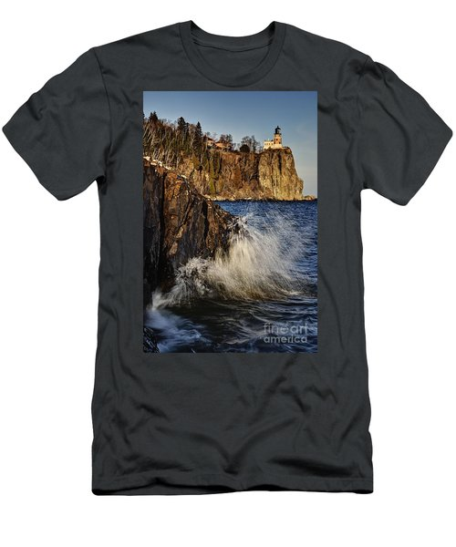 Lighthouse And Spray Men's T-Shirt (Athletic Fit)