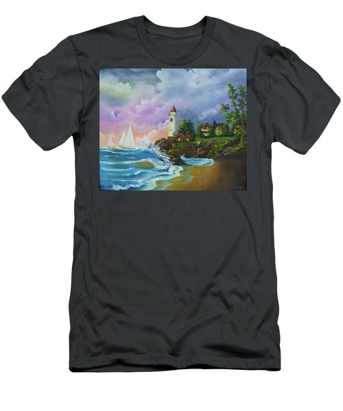 Lighthouse By The Village Men's T-Shirt (Athletic Fit)