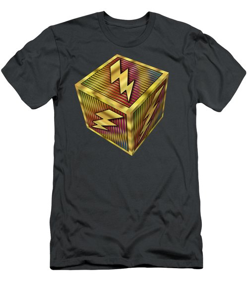 Men's T-Shirt (Slim Fit) featuring the digital art Lightning Bolt Cube - Transparent by Chuck Staley