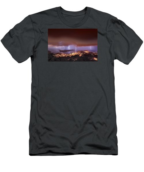 Lightning Over Water Island Men's T-Shirt (Athletic Fit)