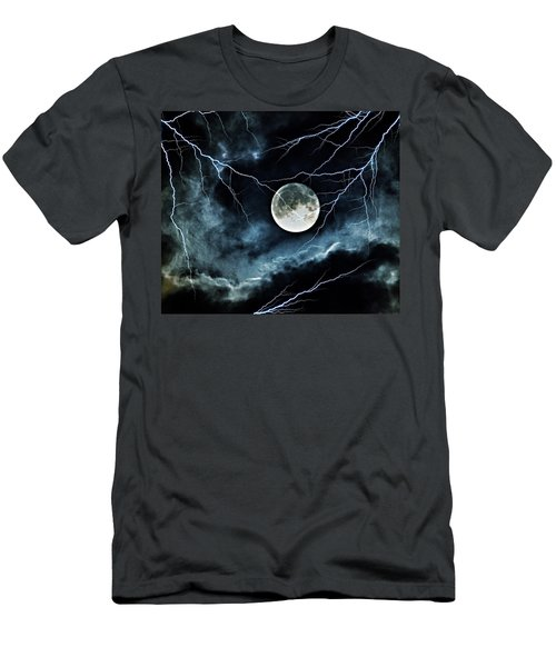 Men's T-Shirt (Athletic Fit) featuring the photograph Lightning Sky At Full Moon by Marianna Mills