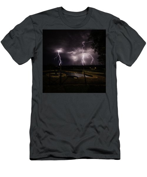 Men's T-Shirt (Athletic Fit) featuring the photograph Lightning Strikes by Chris Cousins