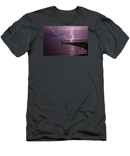 Lightning Up The Night Men's T-Shirt (Slim Fit) by Bob Hislop