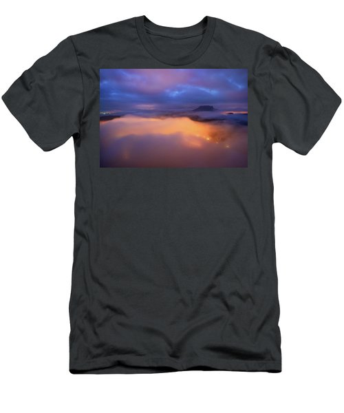 Lilienstein Night View, Saxon Switzerland, Germany Men's T-Shirt (Athletic Fit)
