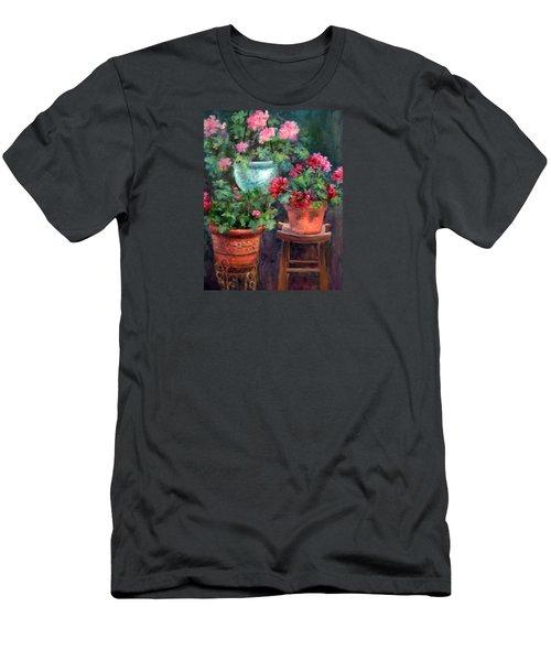 Lil's Geraniums Men's T-Shirt (Slim Fit) by Jill Musser