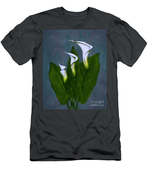 Men's T-Shirt (Slim Fit) featuring the painting White Calla Lilies by Peter Piatt