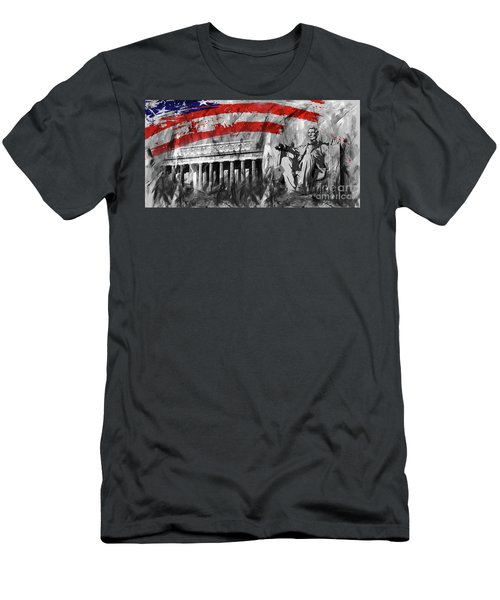 Men's T-Shirt (Slim Fit) featuring the painting Lincoln Abe by Gull G