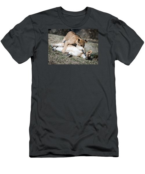 Men's T-Shirt (Slim Fit) featuring the photograph Lion Cubs At Play by Cathy Donohoue