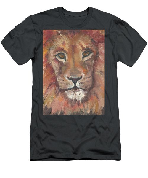 Men's T-Shirt (Slim Fit) featuring the painting Lion by Jessmyne Stephenson