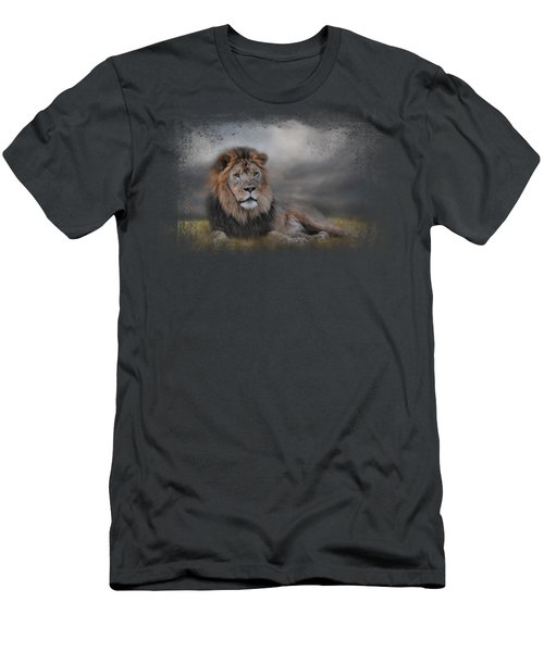 Lion Waiting For The Storm Men's T-Shirt (Slim Fit) by Jai Johnson