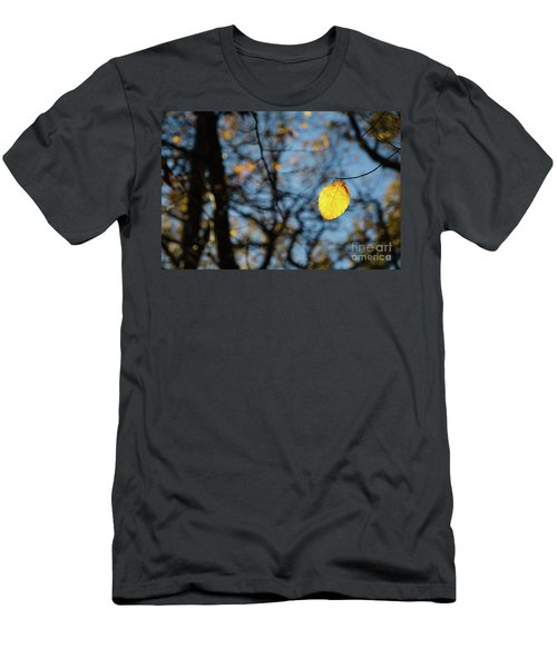 Men's T-Shirt (Athletic Fit) featuring the photograph Lit Lone Leaf by Kennerth and Birgitta Kullman