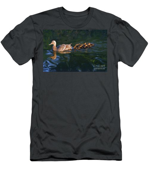 Men's T-Shirt (Slim Fit) featuring the photograph Little Quacker Formation by Debby Pueschel