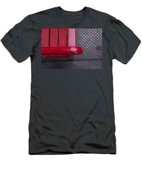 Little Red Bench Men's T-Shirt (Slim Fit) by Henri Irizarri