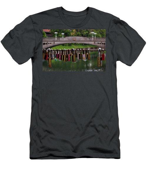 Men's T-Shirt (Athletic Fit) featuring the photograph Ljubljana Love Locks - Slovenia  by Stuart Litoff