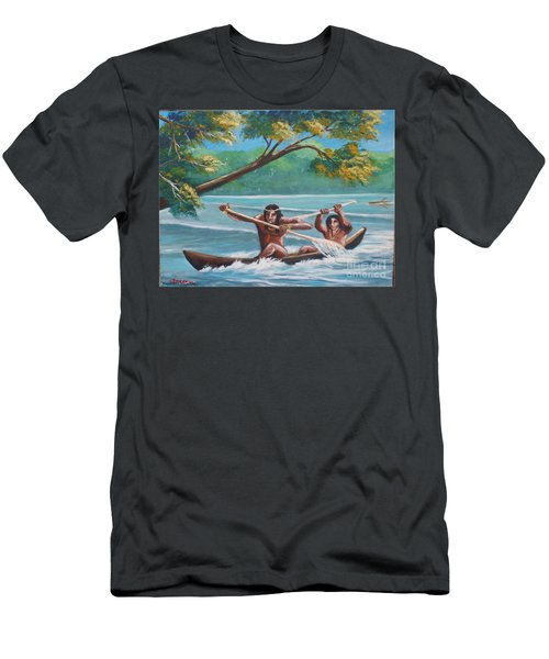 Locals Rowing In The Amazon River Men's T-Shirt (Athletic Fit)