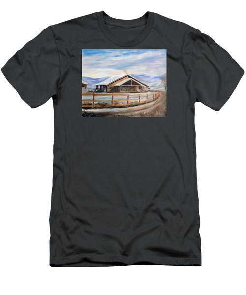 Log Cabin House In Winter Men's T-Shirt (Athletic Fit)