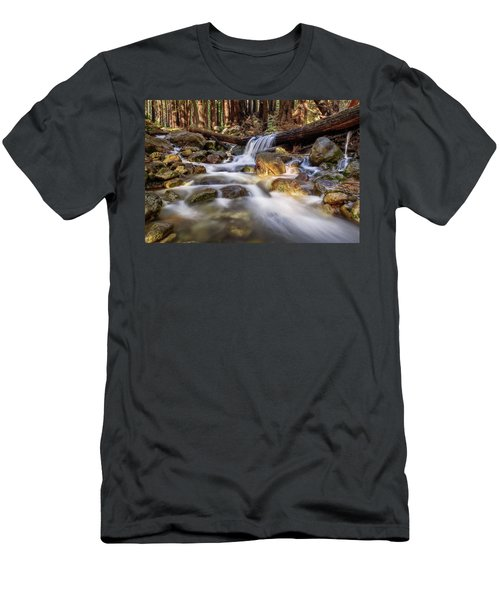 Men's T-Shirt (Athletic Fit) featuring the photograph Log Falls On Limekiln Creek by John Hight