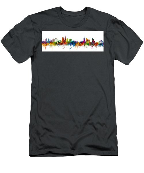 London And Warsaw Skylines Mashup Men's T-Shirt (Athletic Fit)