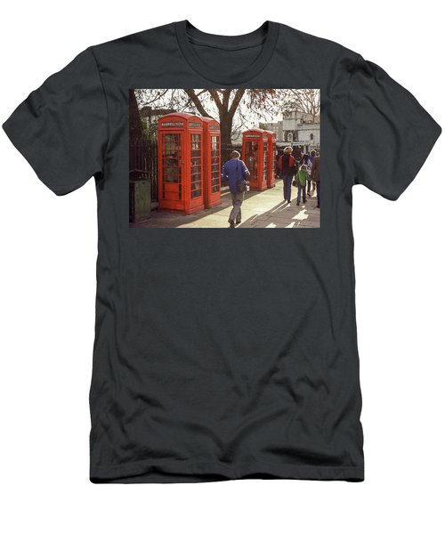 London Call Boxes Men's T-Shirt (Slim Fit) by Jim Mathis