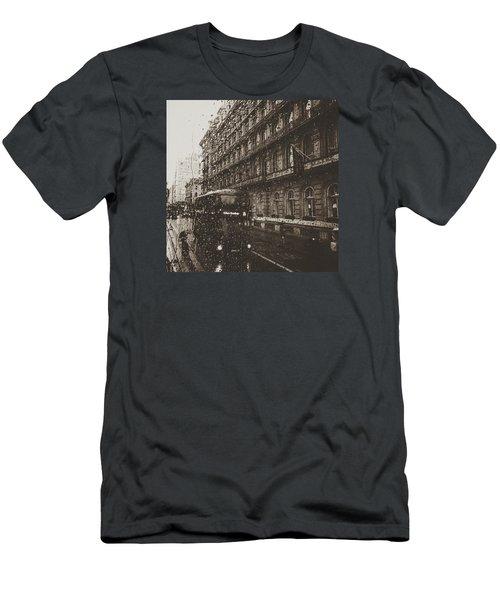 London Rain Men's T-Shirt (Slim Fit) by Trystan Oldfield