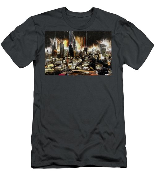 Men's T-Shirt (Slim Fit) featuring the painting London Skyline by Kai Saarto
