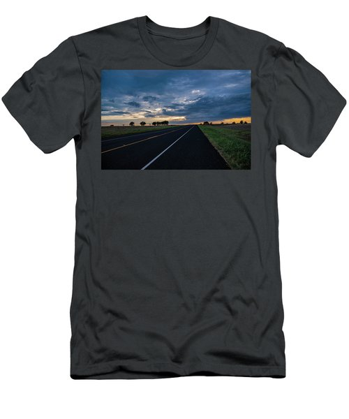Lone Highway At Sunset Men's T-Shirt (Athletic Fit)