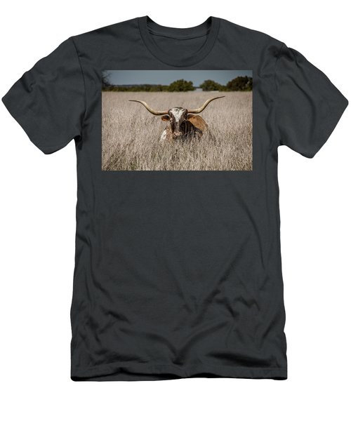 Longhorn In The Grass - 2571 Men's T-Shirt (Athletic Fit)
