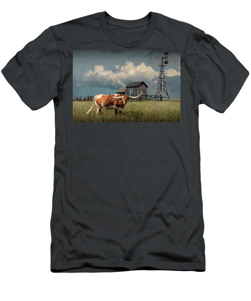 Longhorn Steer In A Prairie Pasture By Windmill And Old Gray Wooden Barn Men's T-Shirt (Athletic Fit)