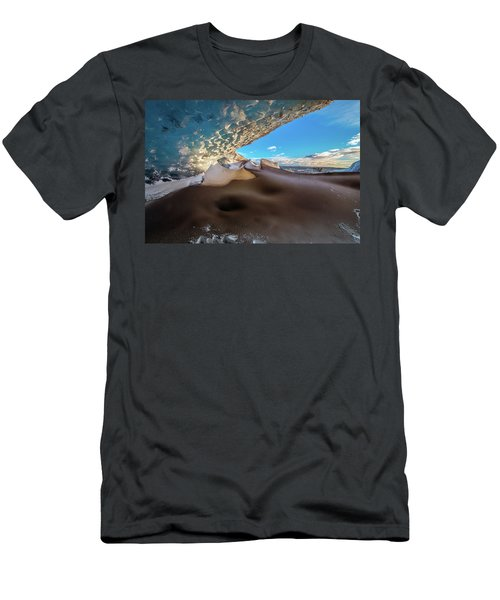 Men's T-Shirt (Slim Fit) featuring the photograph Look Out From Glacier Cave by Allen Biedrzycki