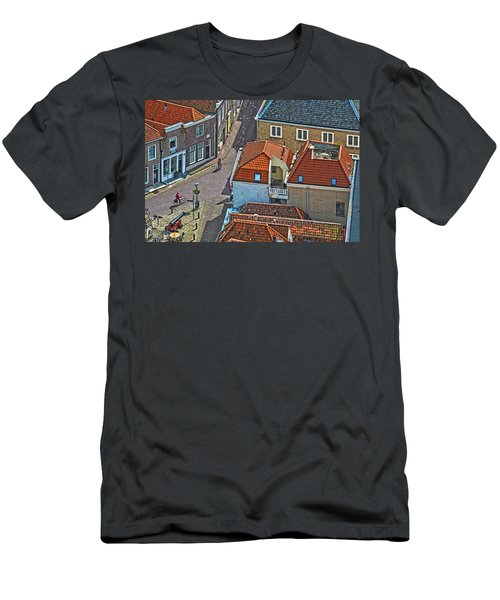 Looking Down From The Church Tower In Brielle Men's T-Shirt (Slim Fit) by Frans Blok