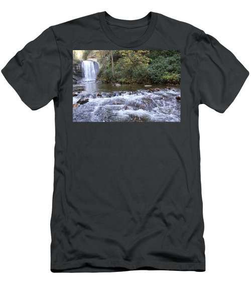 Looking Glass Falls Downstream Men's T-Shirt (Athletic Fit)